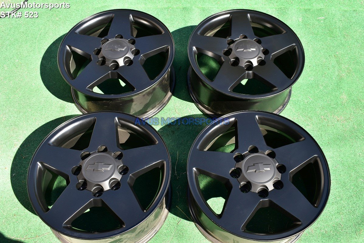 "20"" Chevy Silverado GMC Sierra 2500 3500 OEM WHEELS Black 2014 2015 LTZ"