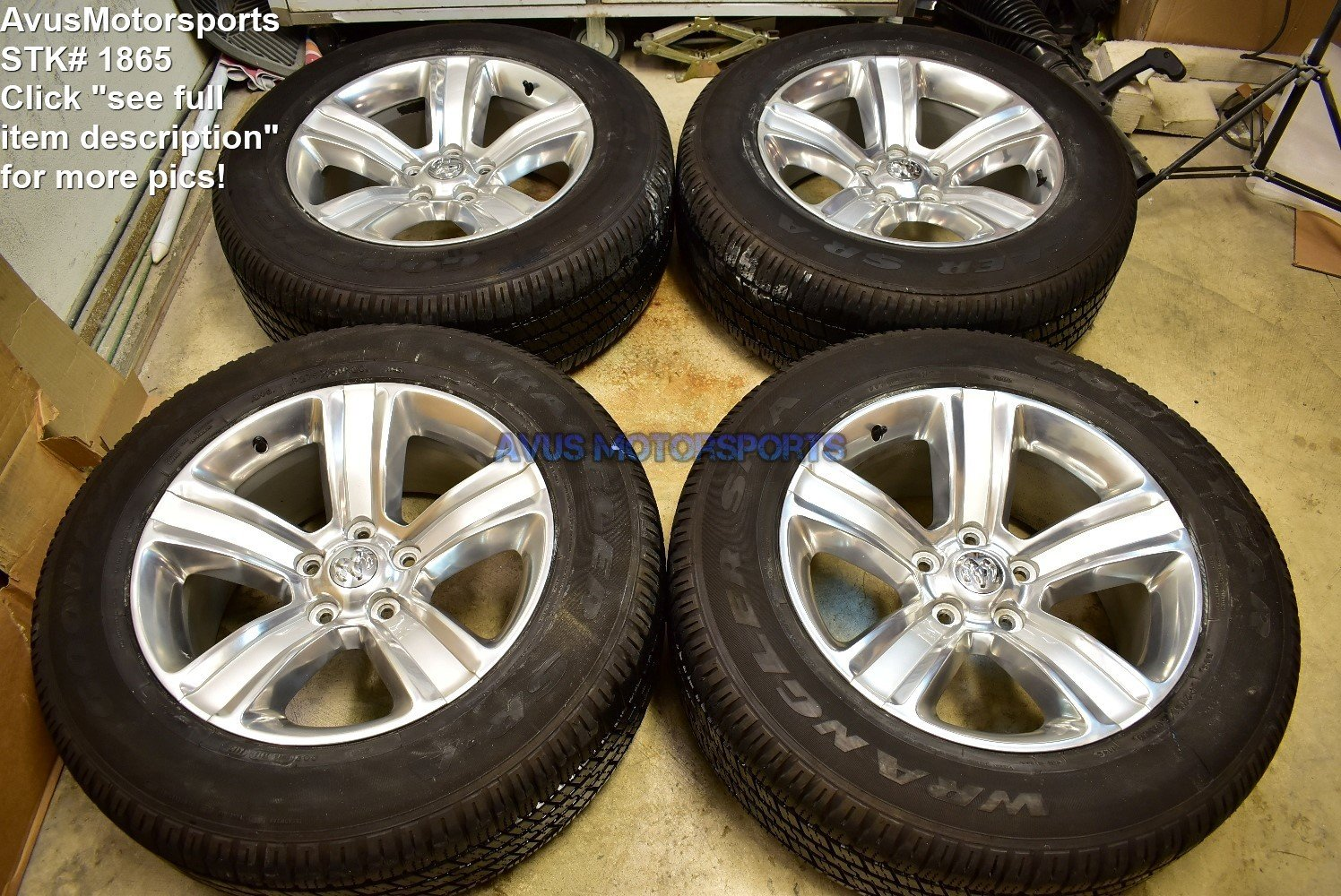 "20"" Dodge Ram Sport OEM Factory Polished Wheels Tires Hemi 1500 Dakota 2015 2014"