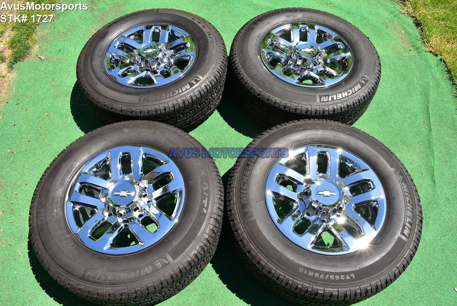 "18"" Chevy Silverado GMC Sierra 2500 3500 OEM WHEELS TIRES  chrome 2016 Michelin"