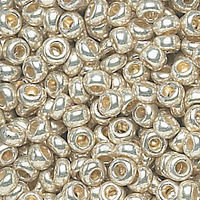 11/0 SHINY SILVER CZECH SEED BEADS - HK: 12 STRINGS OF 20 INCH (APX 36G)