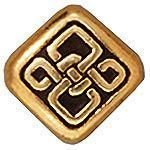 BEAD SM CELTIC DIAMOND ANTIQUE GOLD - PKG OF 2