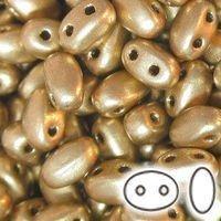 SUPERDUO (SMOOTH OUTLINE) 2-HOLE MATTE GOLD BEAD - 24 GRAM BAG