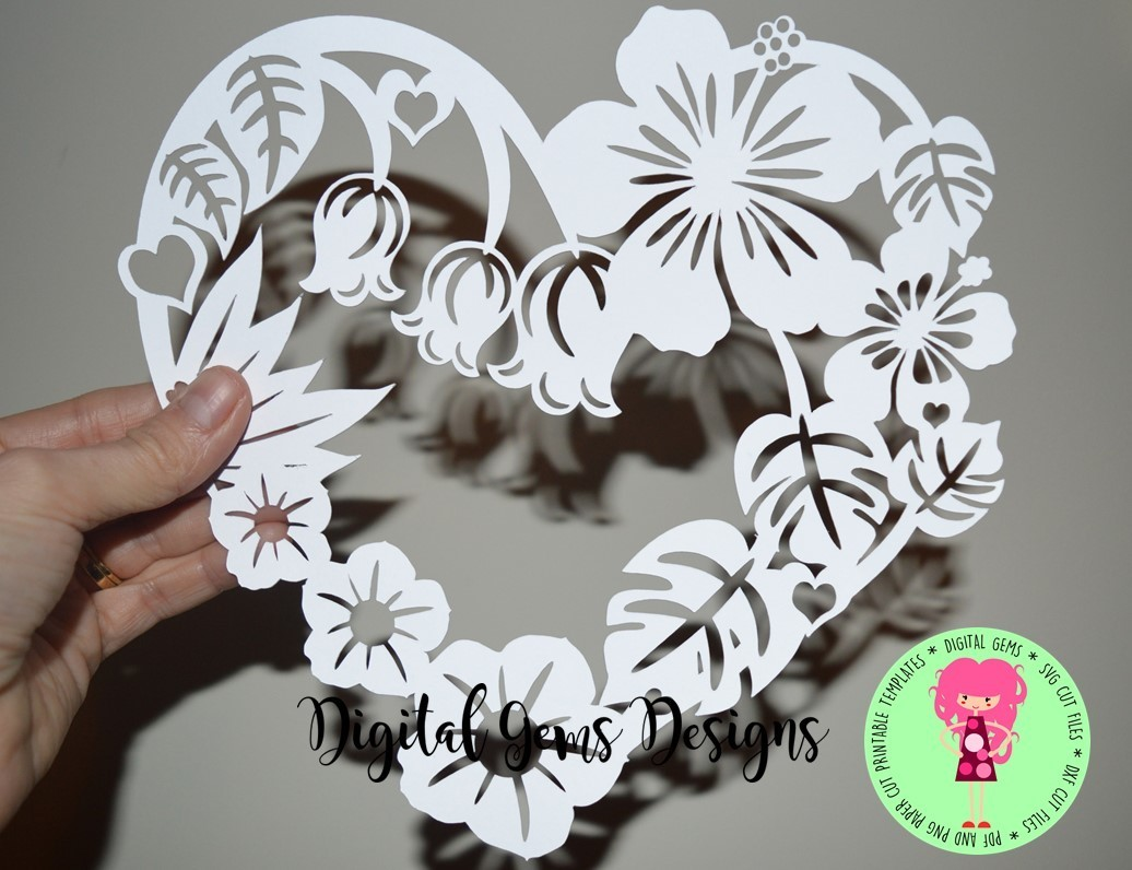 Flower Heart Frame Paper Cut Svg Dxf Eps Files And Pdf Png
