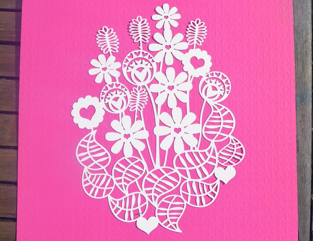 Flower Bouquet Paper Cut Svg Dxf Eps Files And Pdf Png