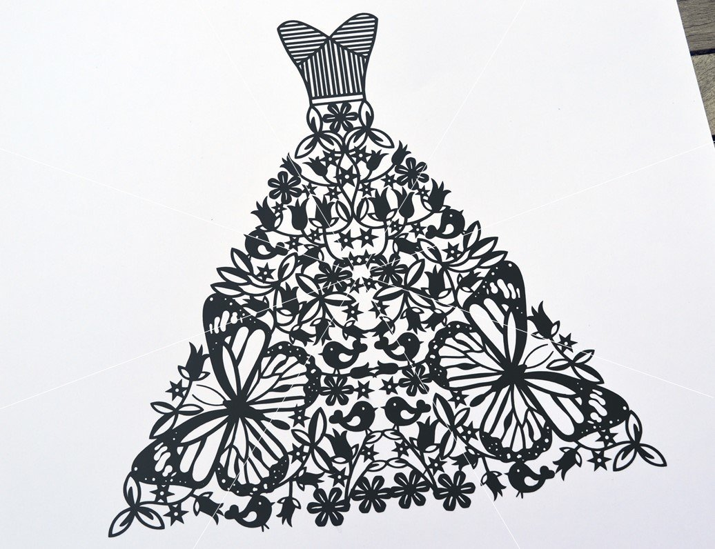Wedding dress paper cut SVG / DXF / EPS files and PDF / PNG ...