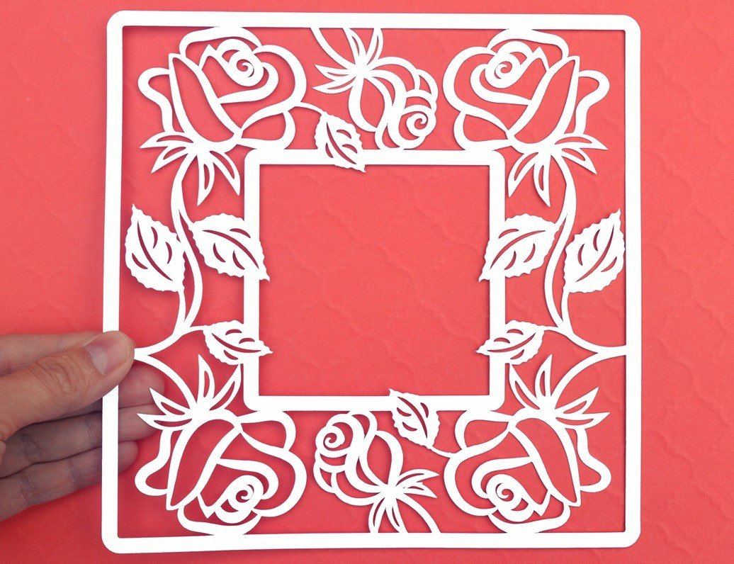 Rose flower frame paper cut mightylinksfo