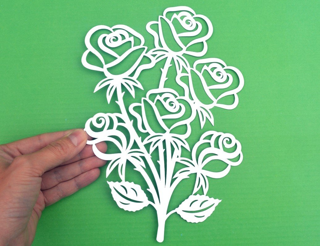 Svg Eps Dxf Png Pdf: Rose Bouquet Paper Cut SVG / DXF / EPS Files And PDF / PNG