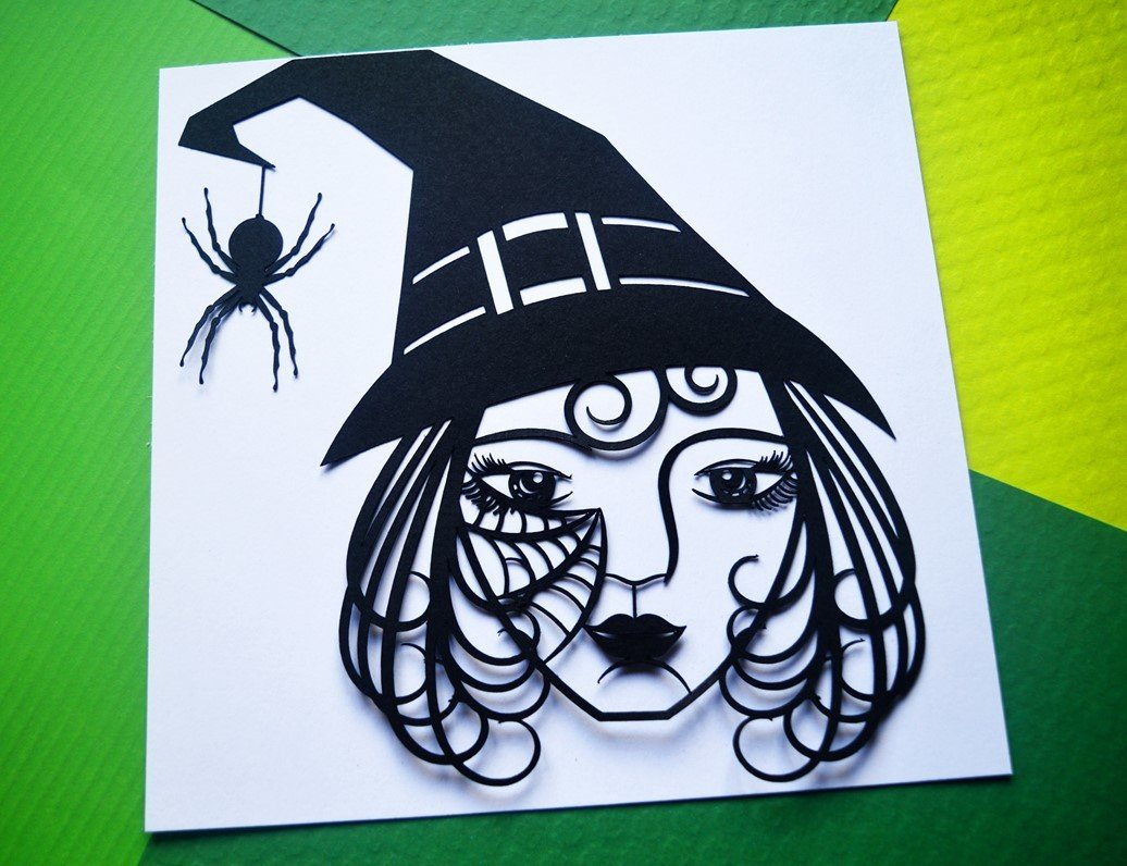 Witch paper cut SVG / DXF / EPS files and PDF / PNG printable templates for  hand cutting  Digital download