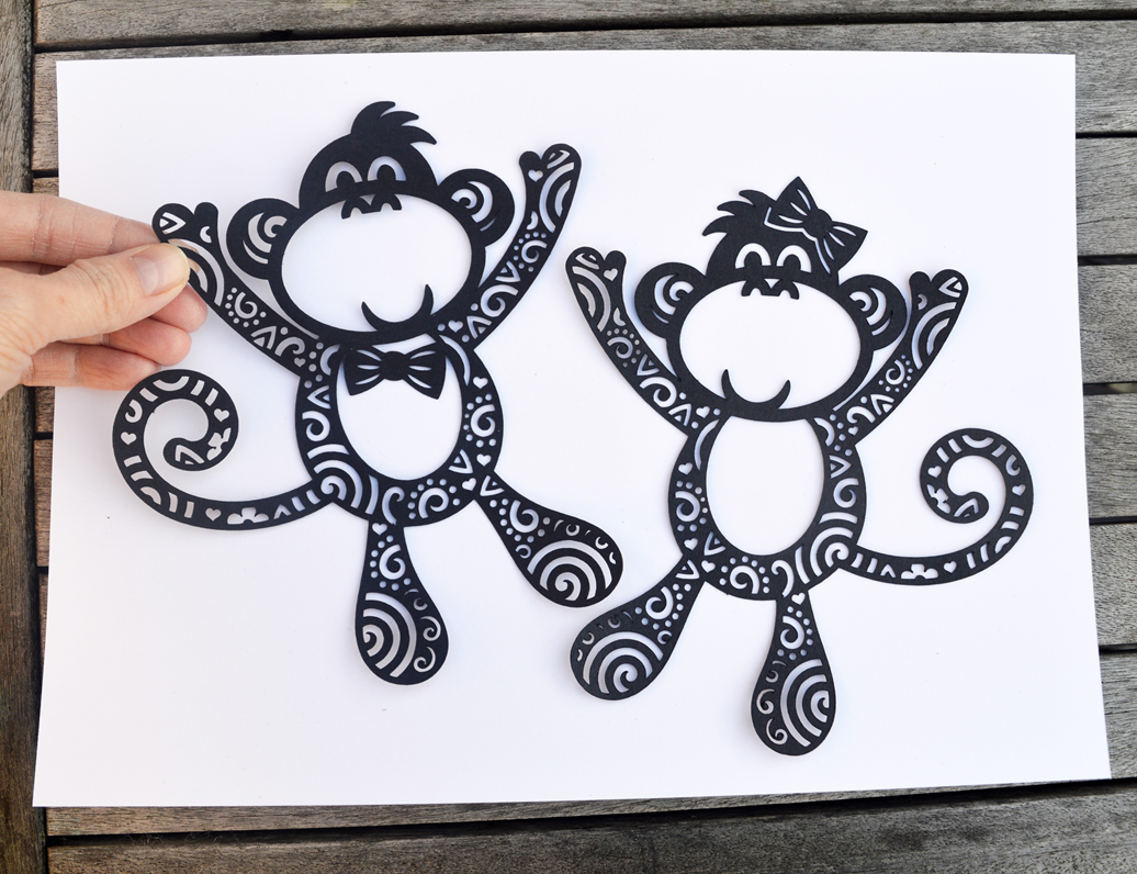 Mr and Mrs Monkey paper cut SVG / DXF / EPS files and PDF / PNG ...