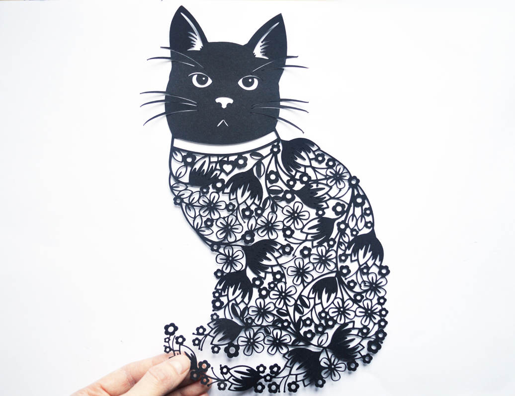 Flora The Cat Paper Cut Svg Dxf Eps Files And Pdf Png Printables For Hand Cutting
