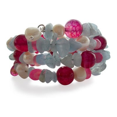 Fuschia Agate Multigem Wrap Around Cuff Bracelet