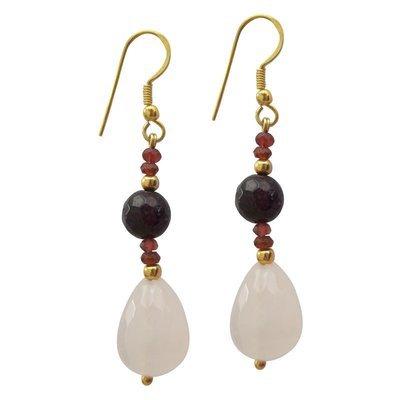 Garnet & Rose Quartz Earrings