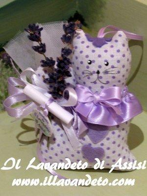 Gatto in stoffa imbottito di lavanda  fantasie in lilla/viola, Bomboniera lavanda, bomboniera gatto.   Su Ordinazione anticipata (Con confetti e confezione)