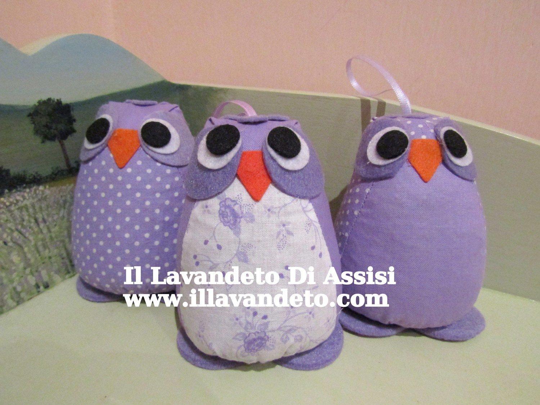 Gufo con lavanda (Colori sul viola) (Uno)
