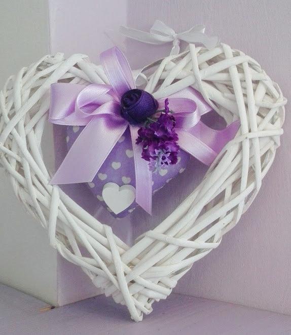 Cuore Legno e cuore piccolo ripieno di lavanda Varie fantasie di lilla)