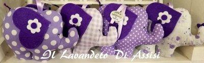 Elefante  ripieno di lavanda (Uno) In fantasie di lilla