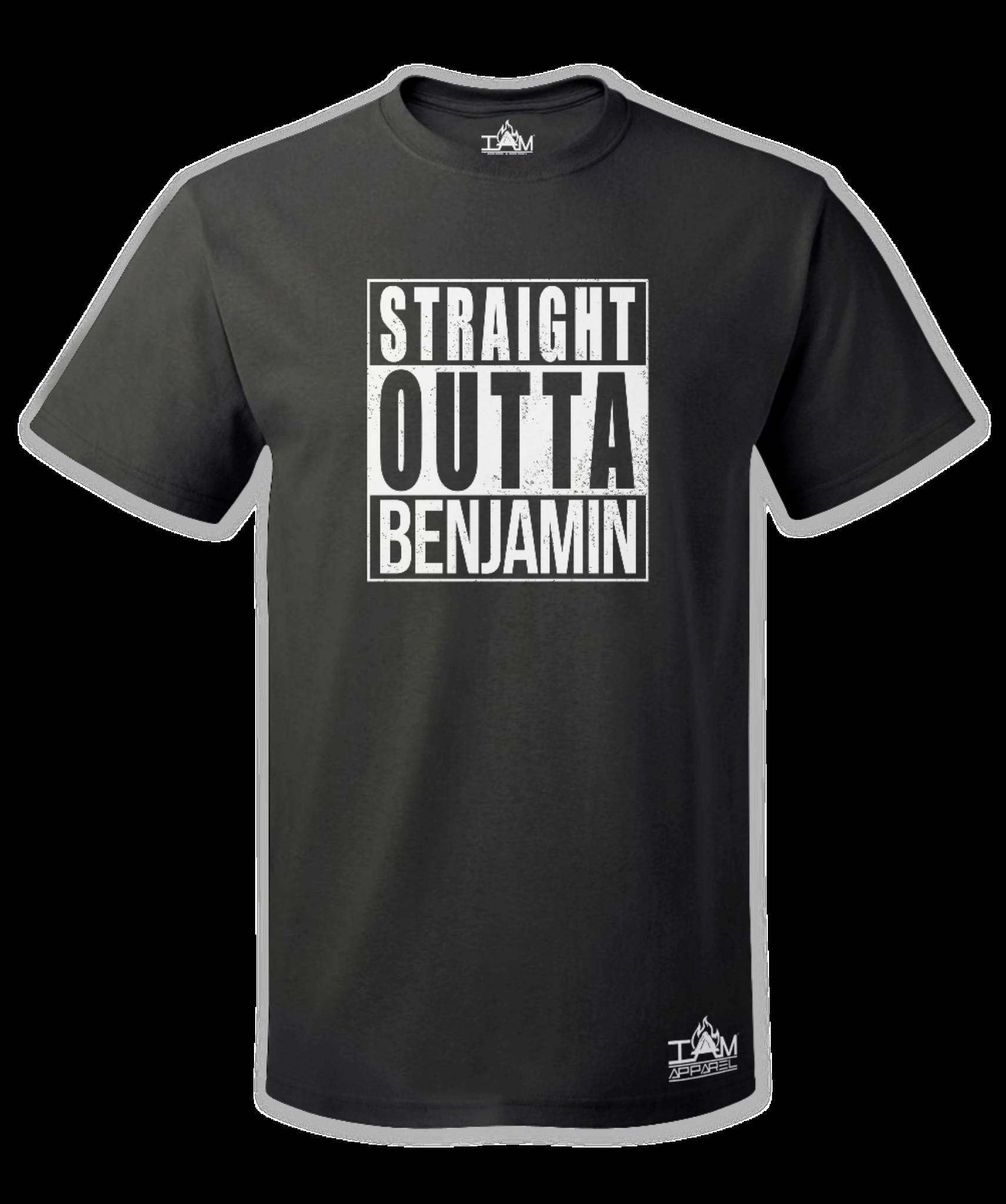 """Men's """"Straight Outta  <Tribe Name> Black Short Sleeved T-shirt"""