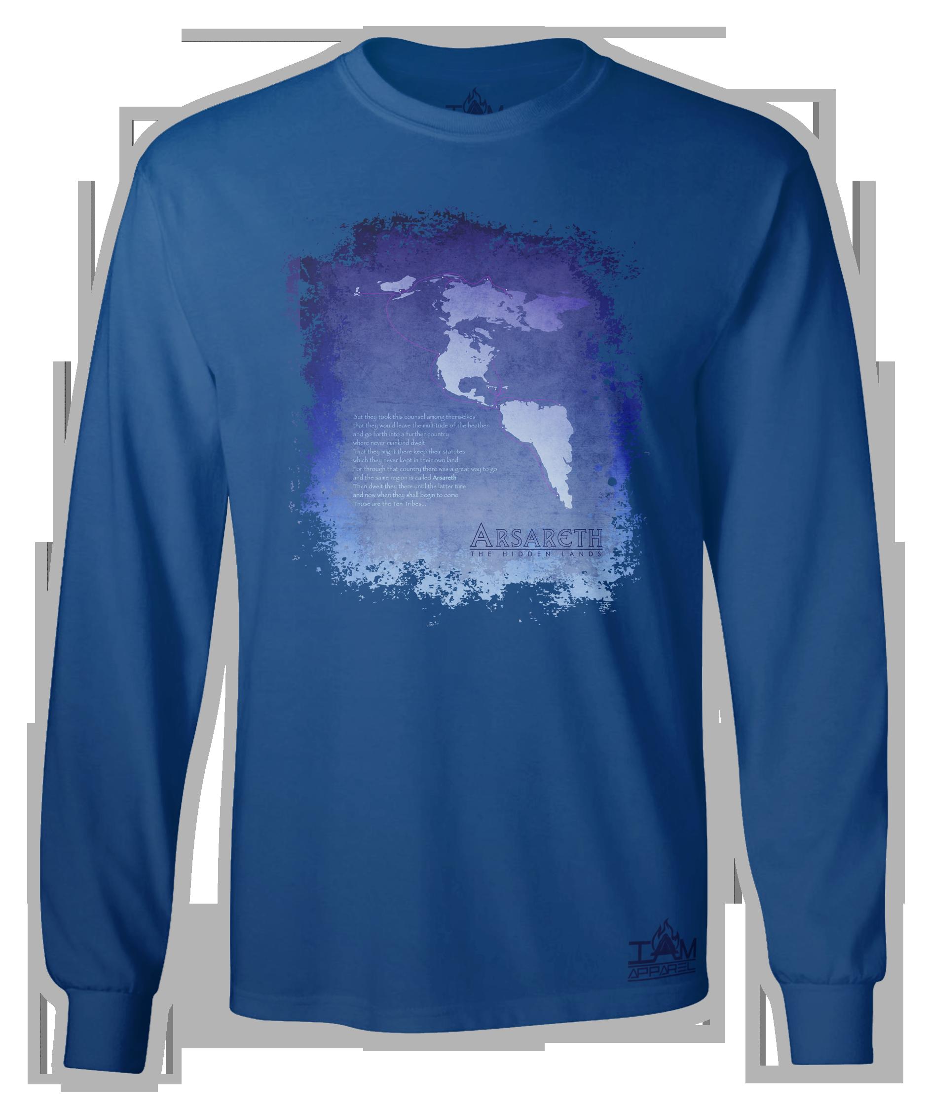 """Men's """"Arsareth"""" Long Sleeved Blue T-shirt 00058"""
