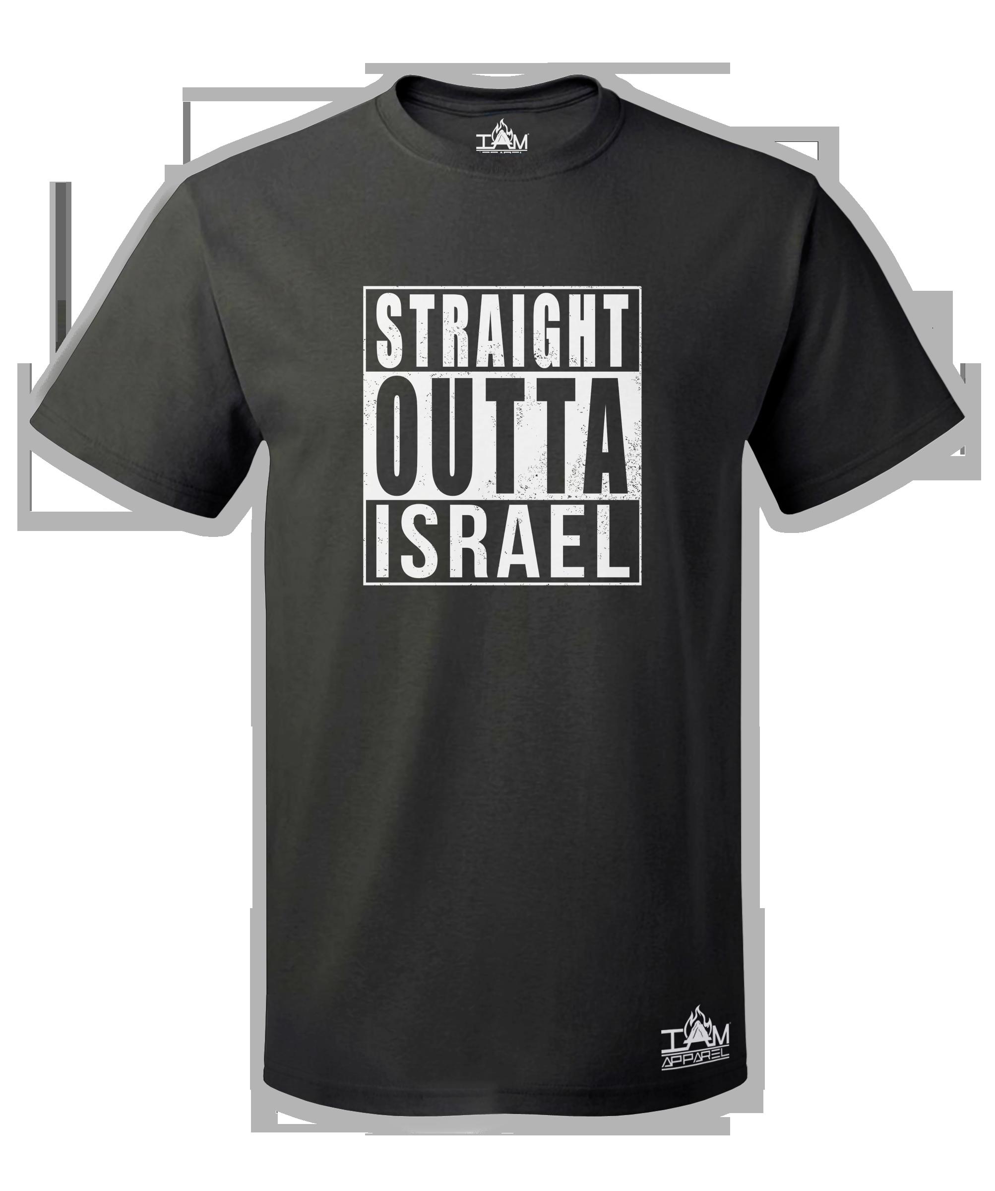 "Men's ""Straight Outta Israel""  Short Sleeved Black T-shirt 00072"
