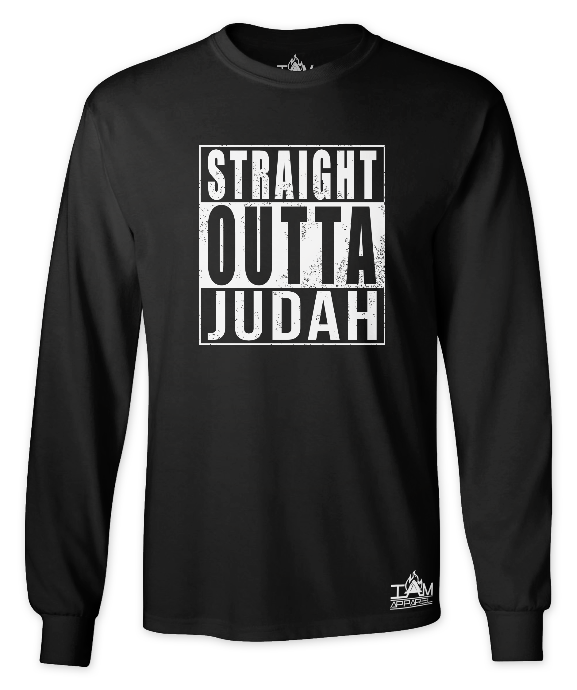 "Men's ""Straight Outta  <Tribe Name> Black Long Sleeved T-shirt 00090"