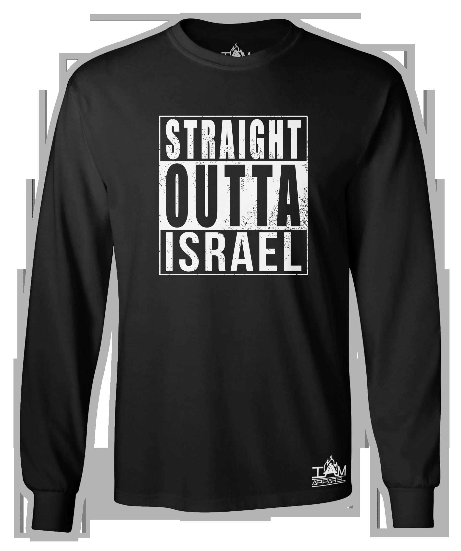 "Men's ""Straight Outta Israel"" Long Sleeved Black T-shirt 00118"
