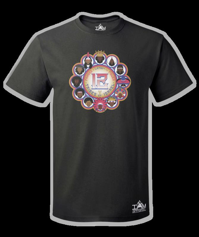 12 Tribes Image Man's Short Sleeved Black T-shirt