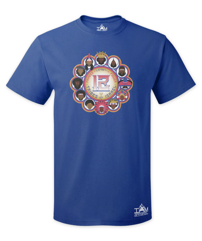 12 Tribes Image Man's Short Sleeved Blue T-shirt