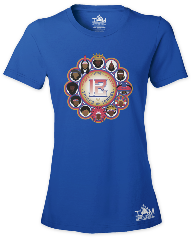 12 Tribes Image Woman's  Short Sleeved Blue T-shirt