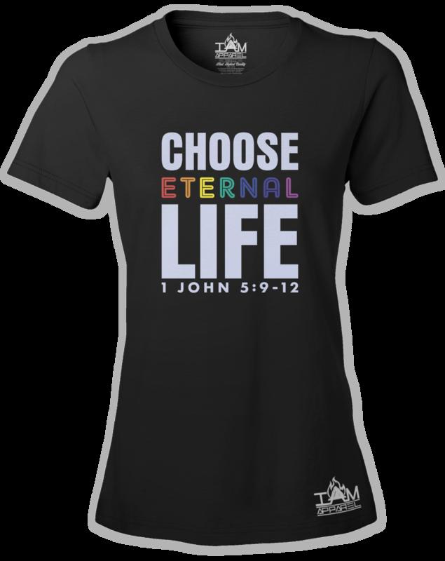 GOCC Women's Short Sleeved Choose Eternal Life Black T-shirt