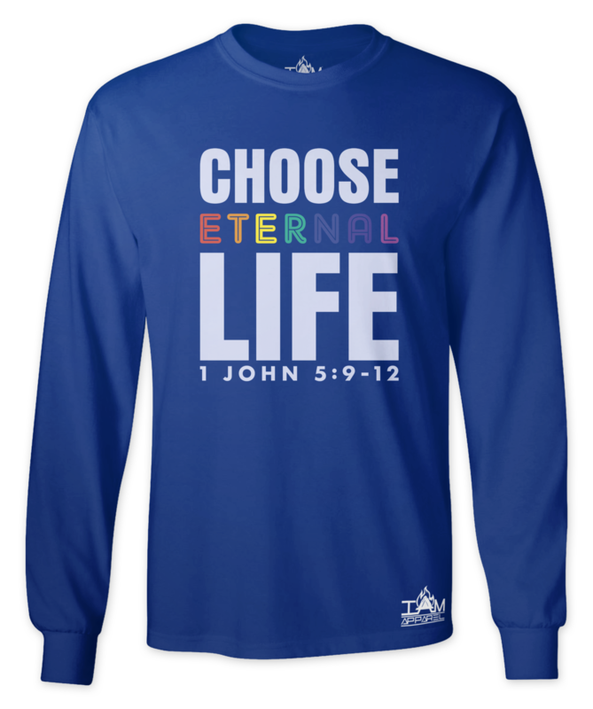 "GOCC Men's ""Choose Eternal Life"" Long Sleeved Blue T-shirt"