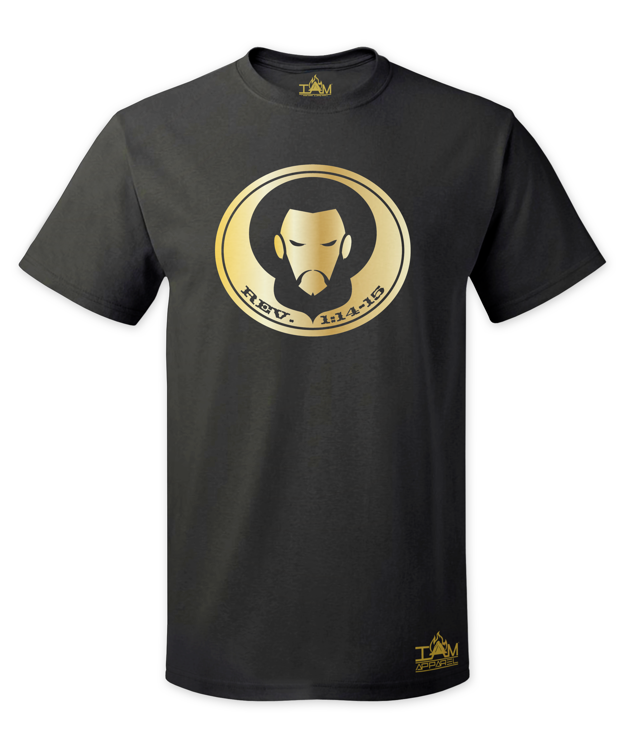 Men's GOLDEN SERIES Short Sleeved with image of Christ Black T-Shirt 00127
