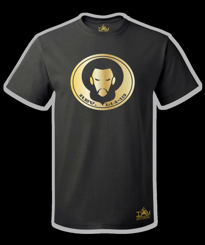 Men's GOLDEN SERIES Short Sleeved with image of Christ Black T-Shirt