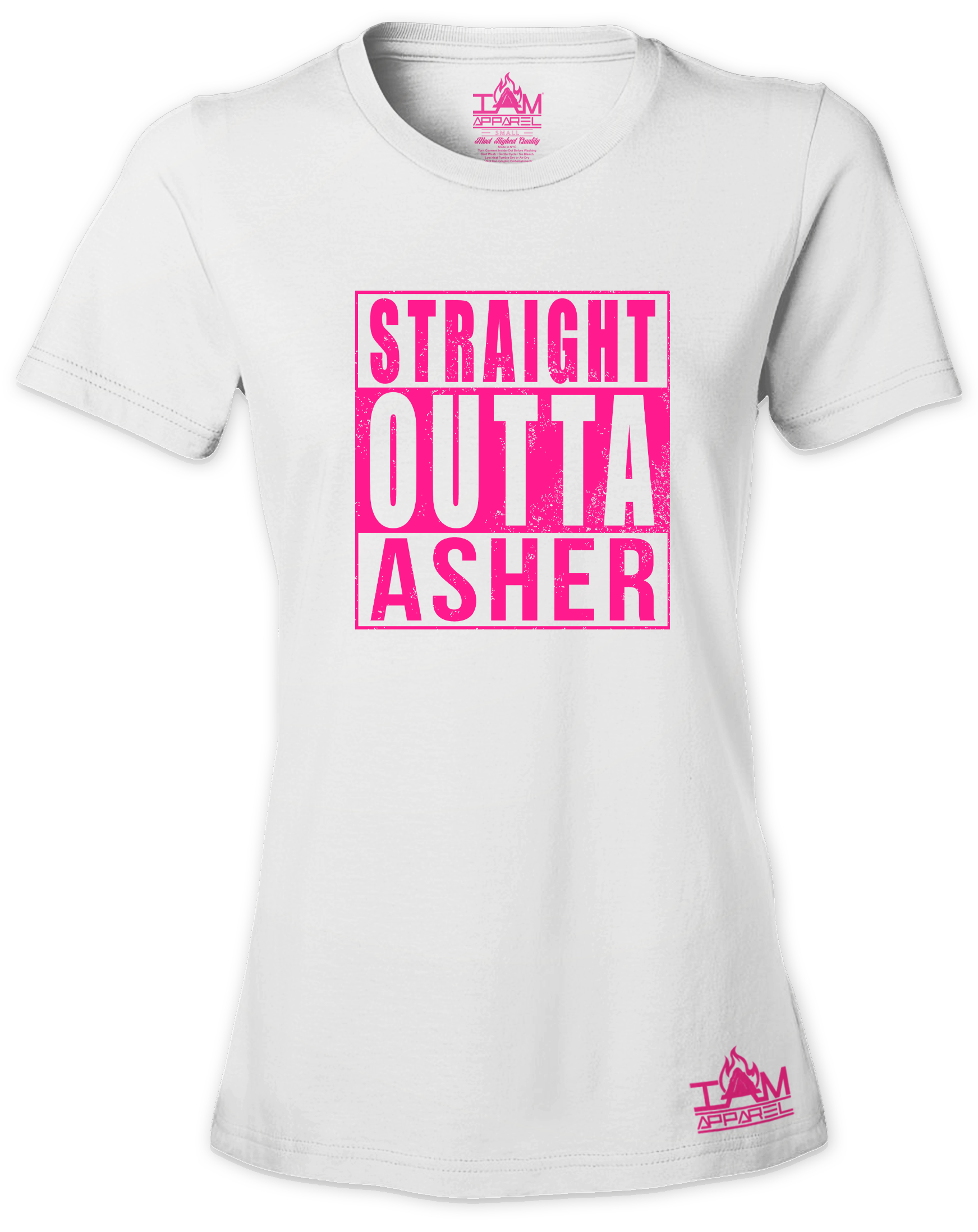 """Women's  HOT PINK SERIES """"Straight Outta  <Tribe Name> Black Short Sleeved T-shirt"""