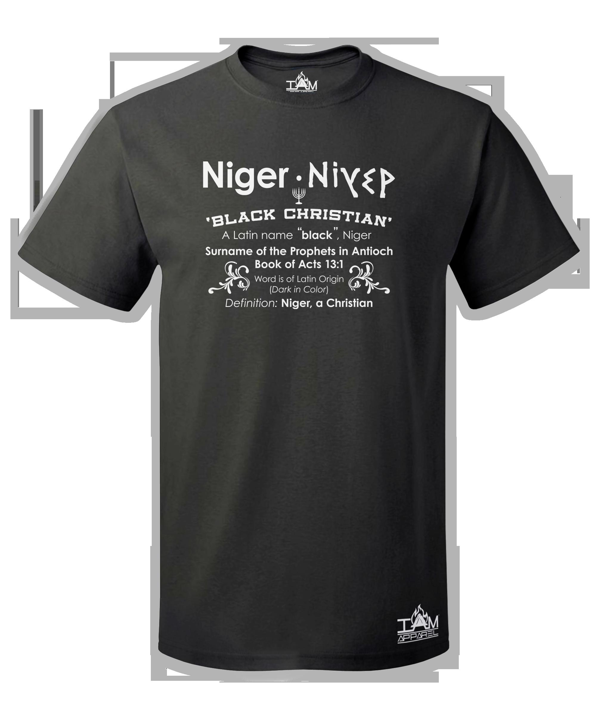 Men's Short Sleeved Niger Acts13:1 Black T-Shirt 00181
