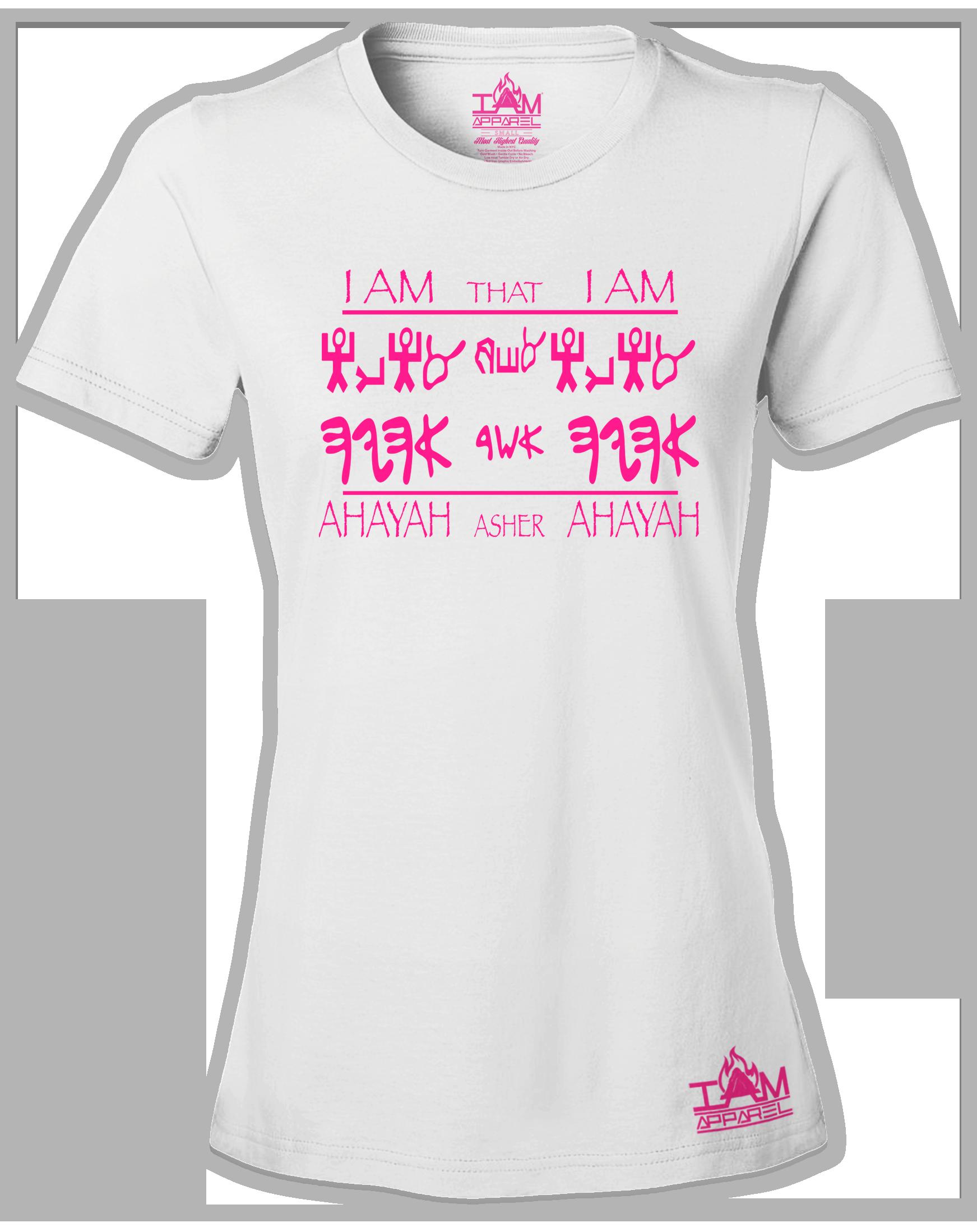 """Women's HOT PINK SERIES """"Ahayah Design"""" Short Sleeved T-shirt"""