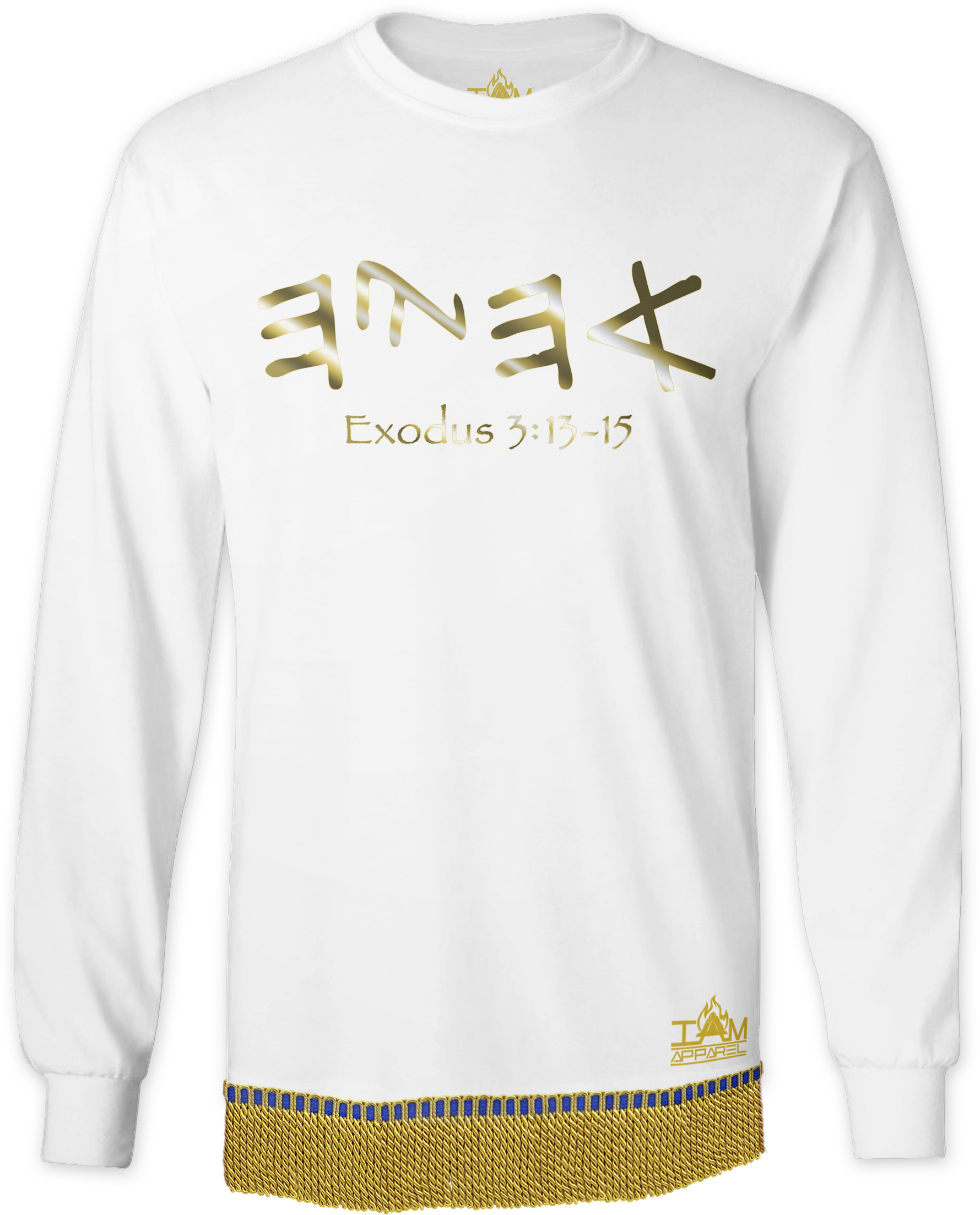 """Men's GOLDEN SERIES """"Ahayah"""" Long Sleeved T-shirt with fringe"""