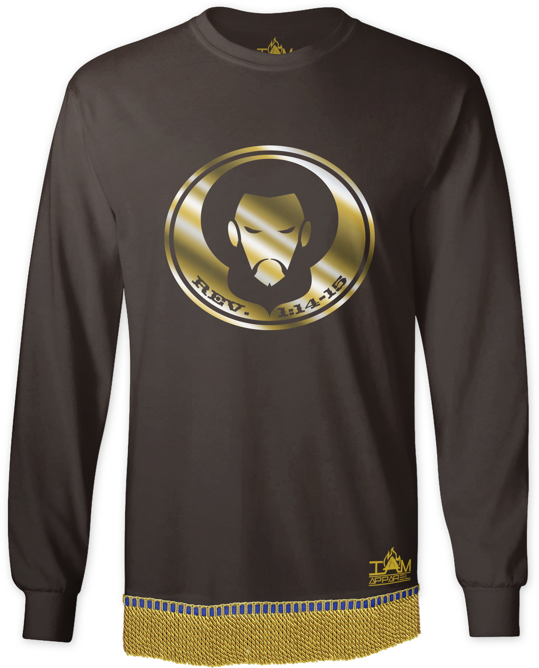 Men's GOLDEN SERIES Long Sleeved with image of Christ T-Shirt with fringe. 00201