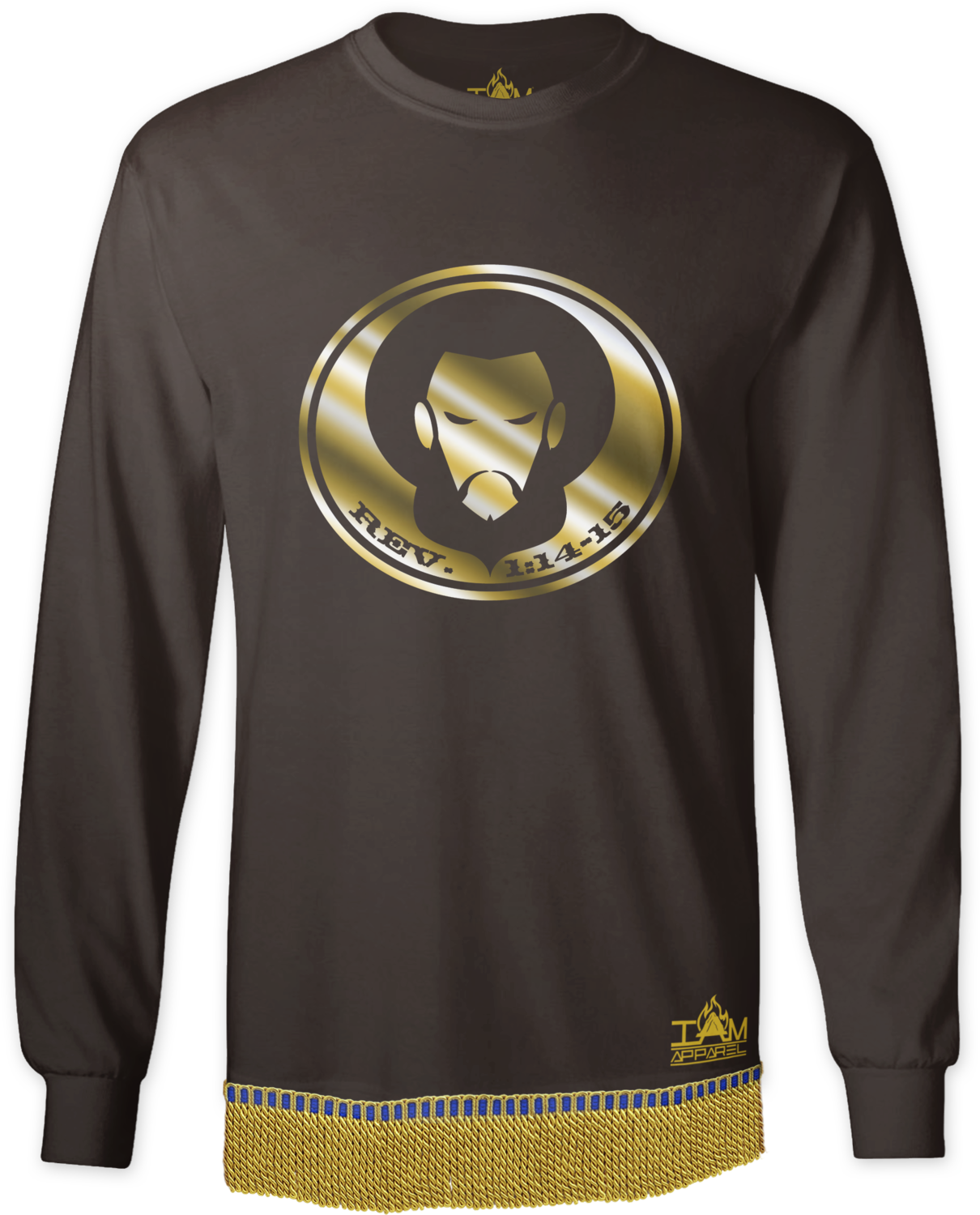 Men's GOLDEN SERIES Long Sleeved with image of Christ T-Shirt with fringe.