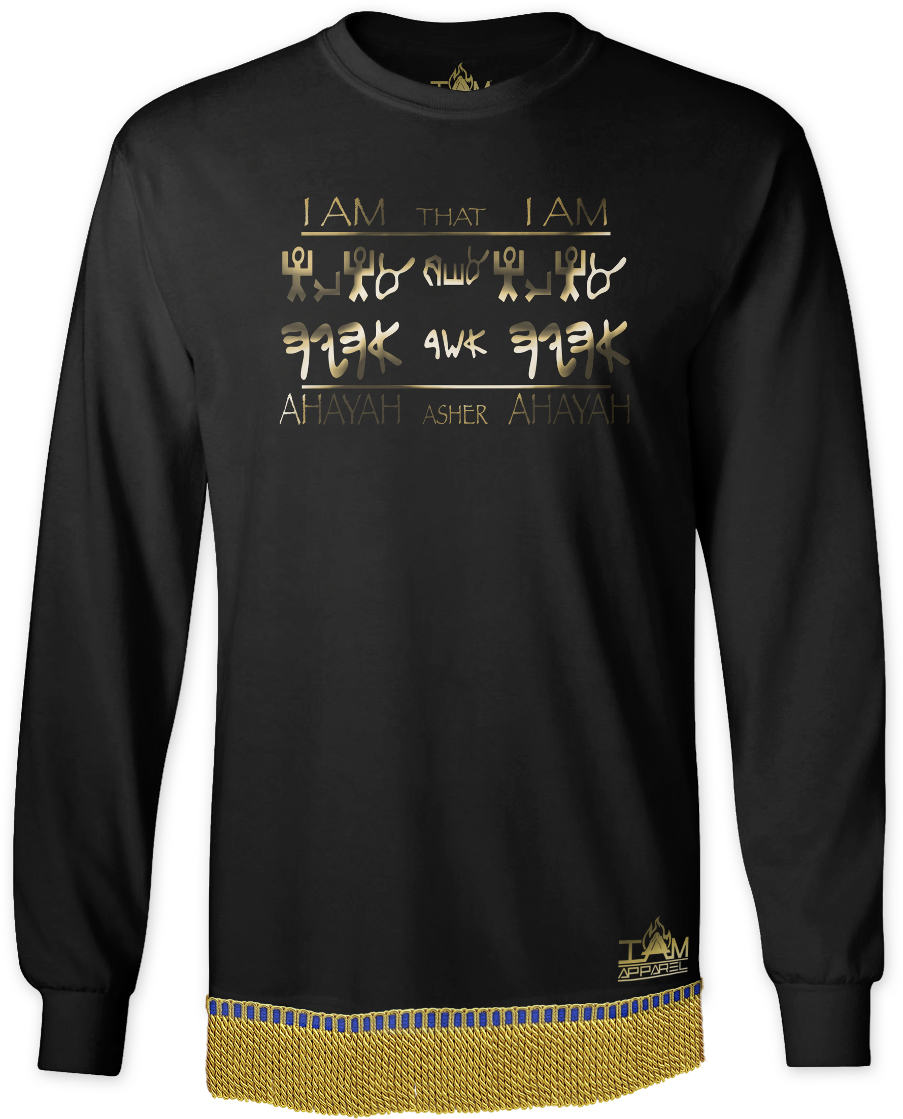 "Men's GOLDEN SERIES ""Ahayah Design"" Long Sleeved T-shirt with fringe 00202"