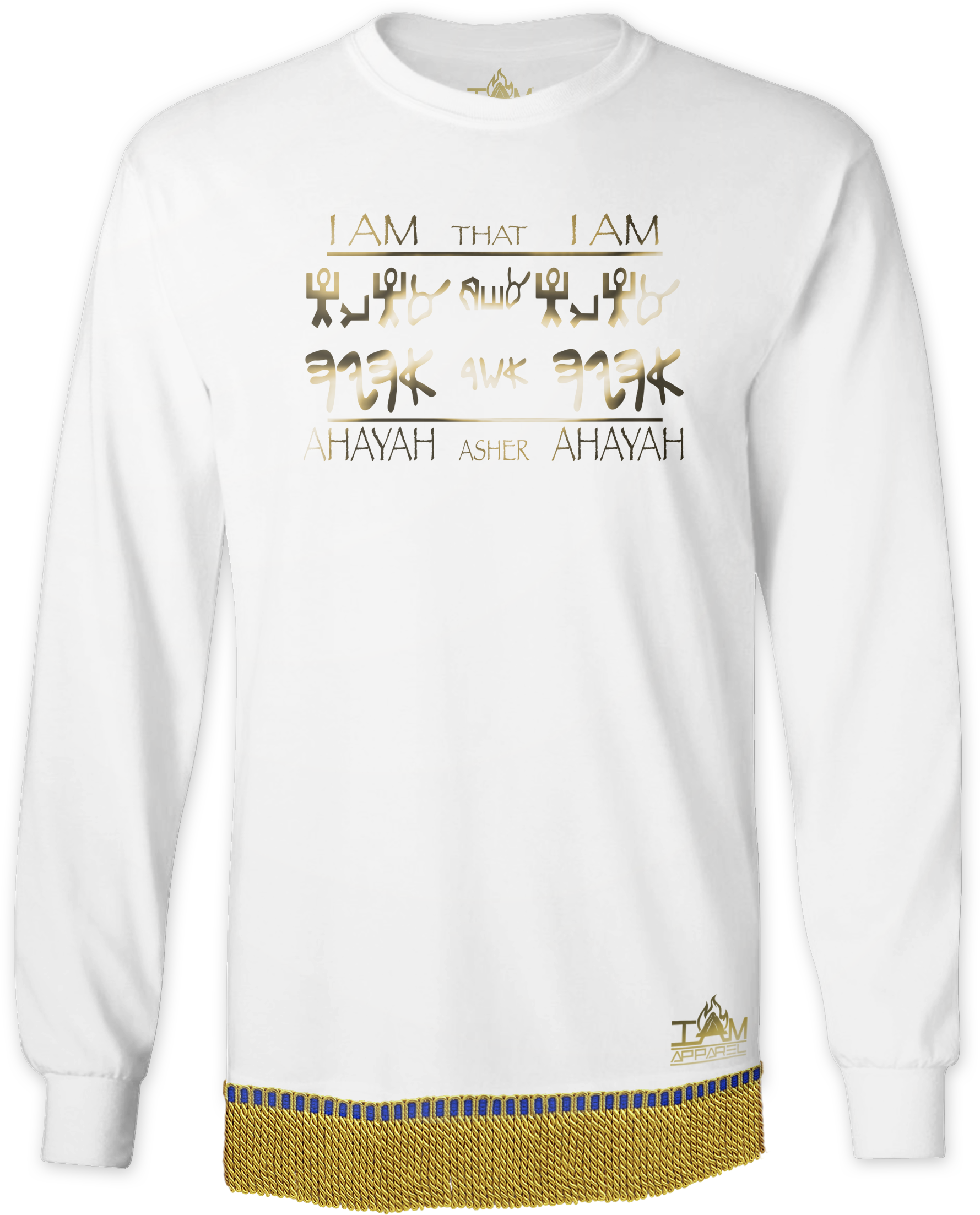 "Men's GOLDEN SERIES ""Ahayah Design"" Long Sleeved T-shirt with fringe"