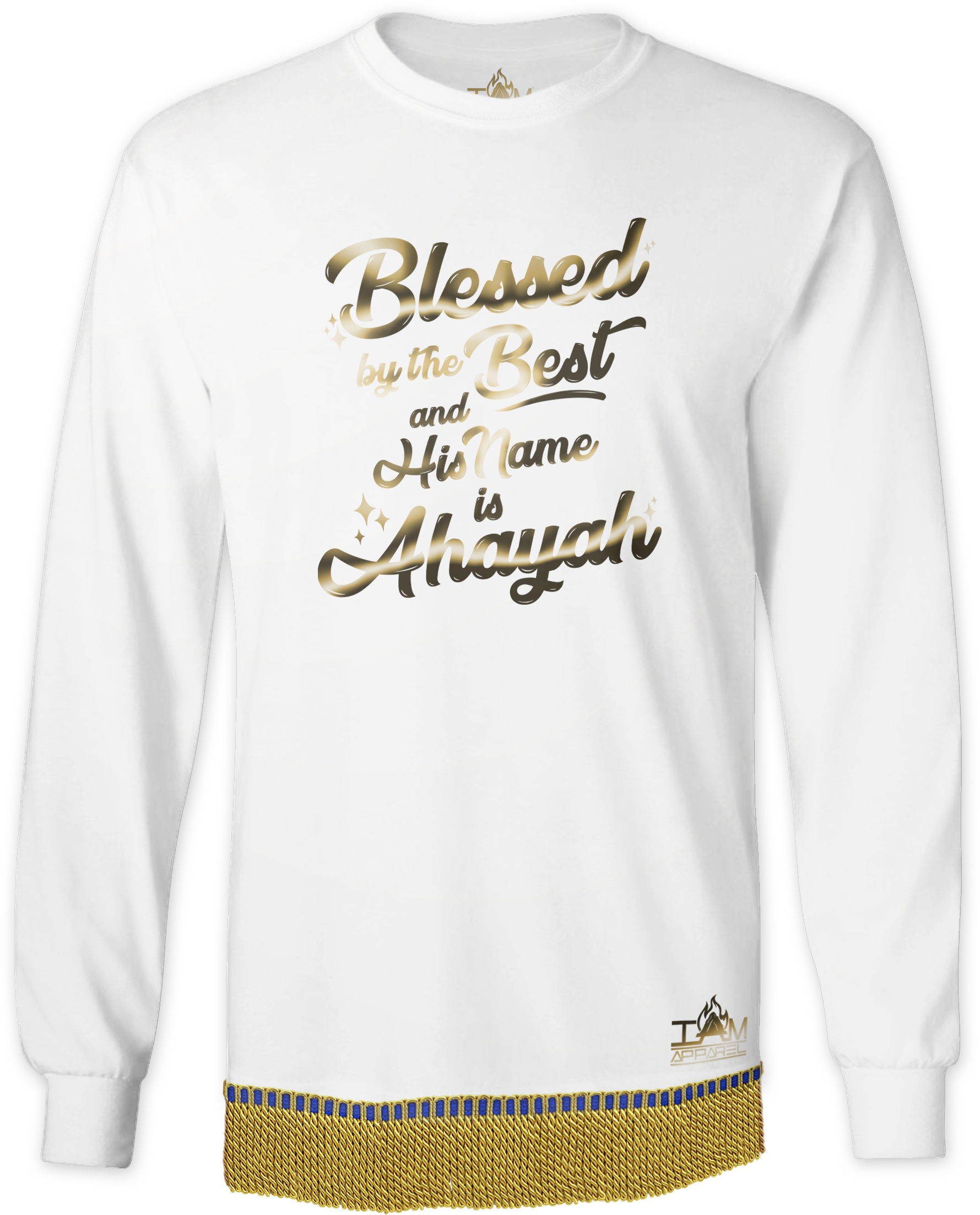 """Men's GOLDEN SERIES """"Blessed by the Best"""" Long Sleeved T-shirt with fringe 00203"""