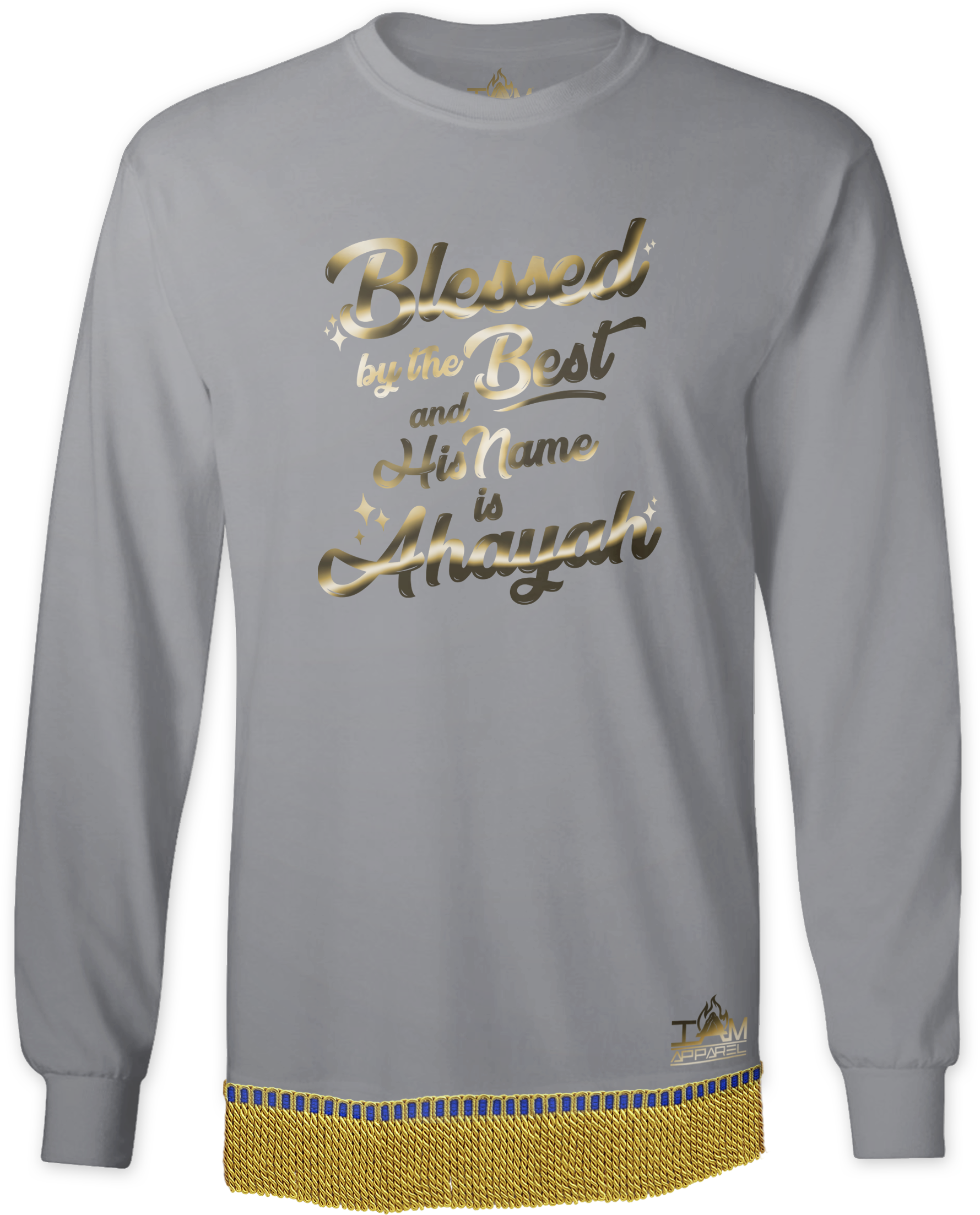 """Men's GOLDEN SERIES """"Blessed by the Best"""" Long Sleeved T-shirt with fringe"""