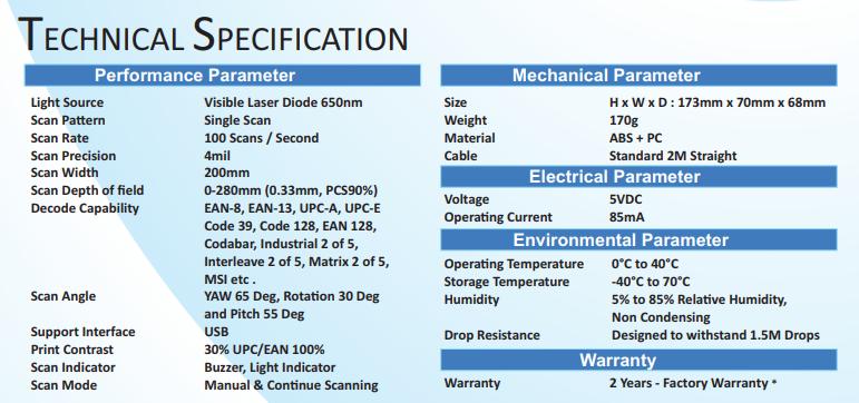 Retsol LS450 1D Handheld Laser Barcode Scanner