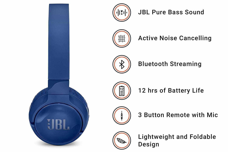 91373431310 JBL Tune 600 BTNC On-Ear Wireless Bluetooth Noise, Blue, Rs.3800