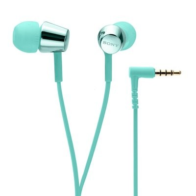 Sony MDR-EX155AP in-Ear Headphones with Mic, Light Blue