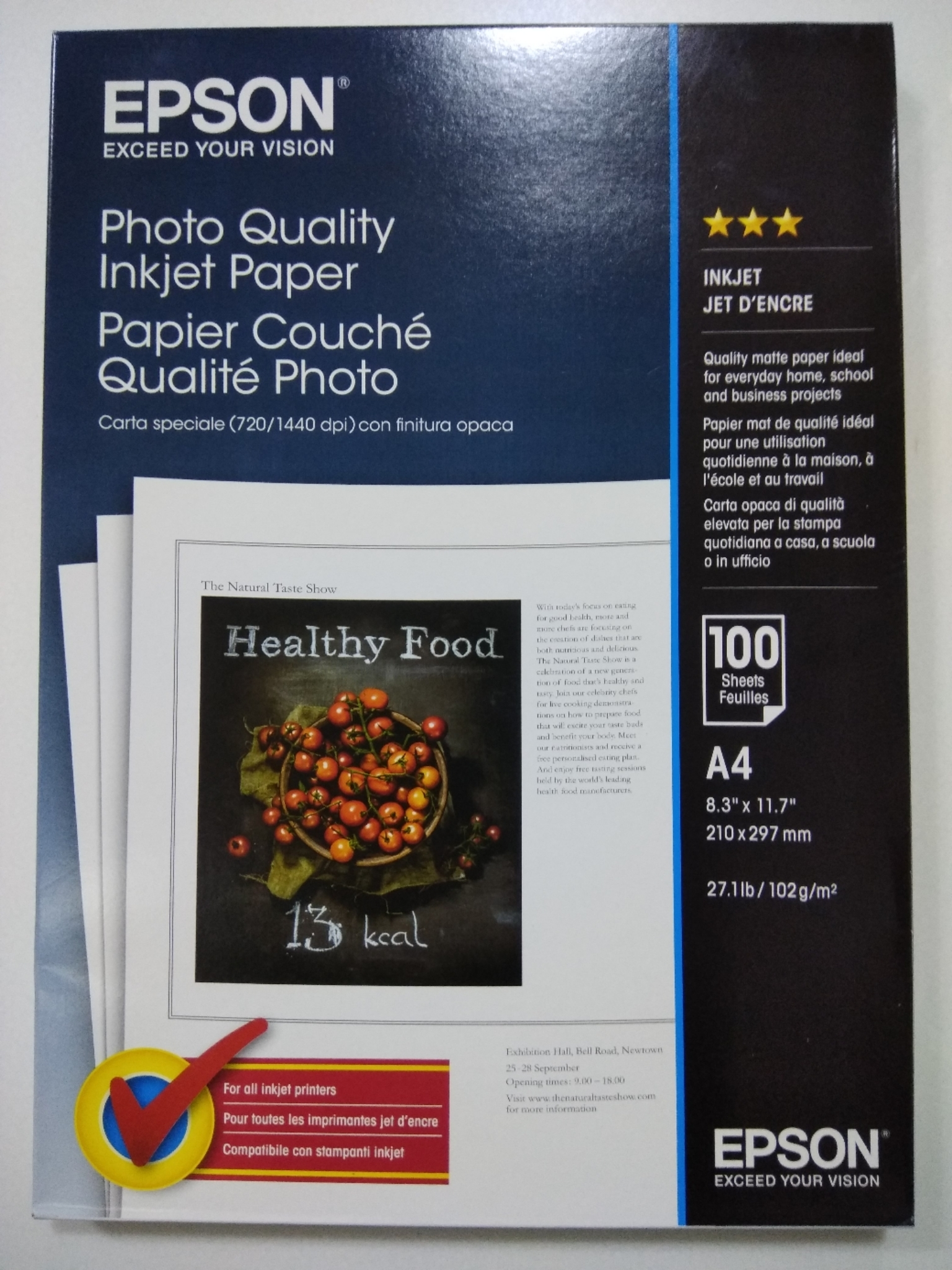 Epson Photo Paper A4 Pack of 100, 102gm C13S041061 HSN: