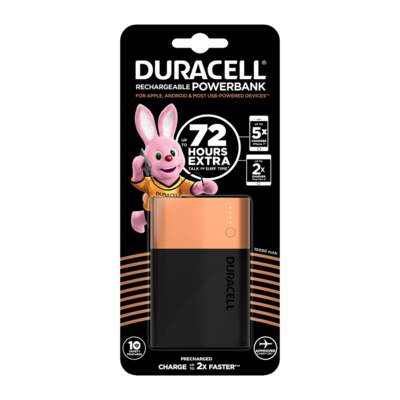Duracell Rechargeable Power Bank, 10050mAh, Lithium-ion Battery