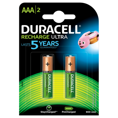 Duracell AAA, 2 Battery, 900mAh, Rechargeable Ultra
