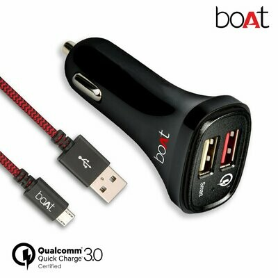 boAt Dual Port Rapid Car Charger + Micro USB Cable