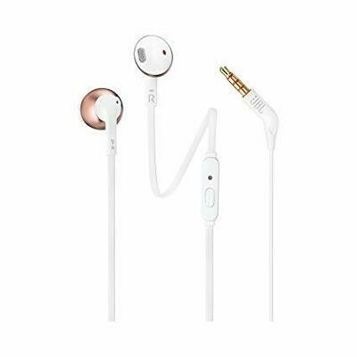 JBL T205 Pure Bass Metal Earbud Headphones White Rose Gold
